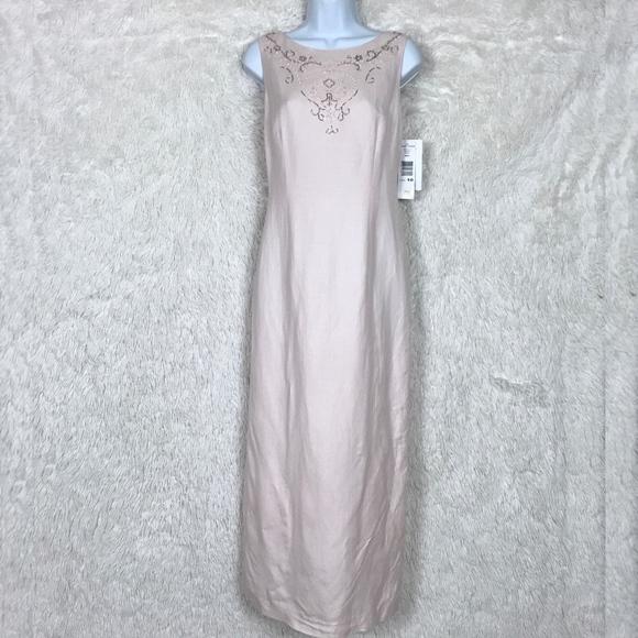 2b192369b96 Jessica Howard Pink Linen Maxi Dress Beaded